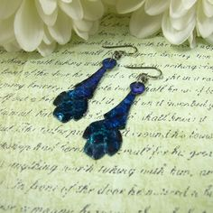 Earrings, Aluminium Embossed Dropper with Ink & Resin, Teal & Purple £8.00 #Folksy365