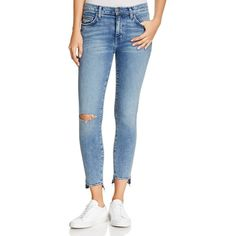Current/Elliott The Stiletto High-Rise Jeans in Balsa Destroy ($210) ❤ liked on Polyvore featuring jeans, balsa destroy, blue ripped jeans, current elliott jeans, blue distressed jeans, torn jeans and distressing jeans