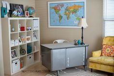 Home Office - Thrifted Style.  Big map.