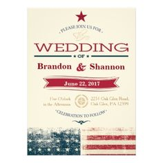Rustic Americana 5.5x7.5 Wedding Invitations For Patriotic Couples, People  In The Military