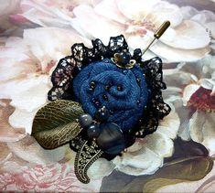 Denim brooch handmade prima textile brooch. Safety pin