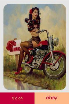 Vintage Style Pin Up Girl Sticker Pinup Girl Sticker Pin Up Girl Vintage, Retro Pin Up, Vintage Pins, Motorcycle Art, Bike Art, Fantasy Girl, Dark Fantasy, David Mann Art, 1950 Pinup