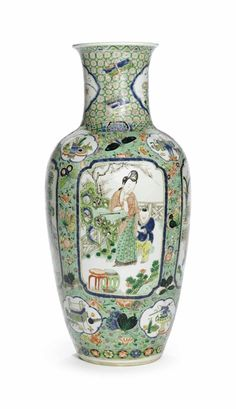A large famille verte ovoid vase, Kangxi period (1662-1722)