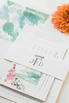 Watercolor wedding stationary by Tie That Binds.