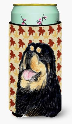 Tibetan Mastiff Fall Leaves Portrait Tall Boy Beverage Insulator Beverage Insulator Hugger