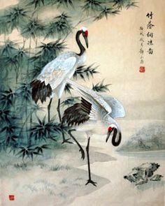 Chinese Crane Painting,65cm x 55cm,4700009-x