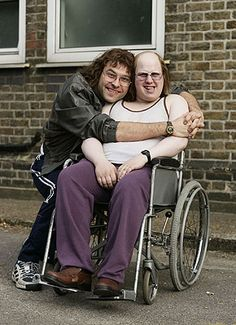 Little Britain - Inspiration for character design  additional hair has been added on both characters, teeth and sallow tones of make up has also been used. The make up here makes these characters look  odd and like outcasts. This emphasises the comedic value of the charecterisations