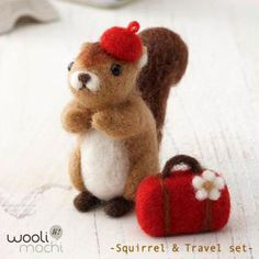 Love the little hat and bag! https://www.etsy.com/listing/106018775/squirrel-travel-set-needle-felting-kit