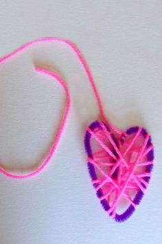 "Simple wool-wrapped pipe-cleaner hearts from Hands On As We Grow ("",)"