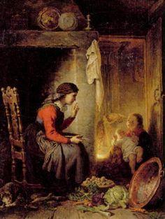 """""""Bondkvinna som skalar frukt och förmanar ett barn"""" av Killian Christoffer Zoll (1818-1860)"""