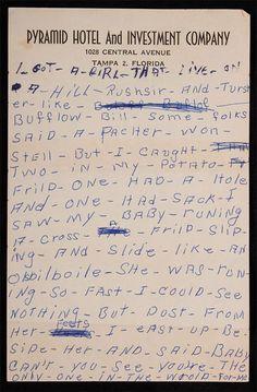 "60dcd272758928 Bo Diddley s Handwritten Annotated Lyrics For ""Hey"