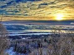 Sun rising above Homer, Alaska.