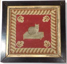 Antique 19th Century CAT WOOLWORK SAMPLER PICTURE, Petit Point & Needlepoint Embroidery Sampler, Embroidery Designs, Little Boy And Girl, Needlepoint Kits, Rug Hooking, Photos, Pictures, Cat Art, One Pic