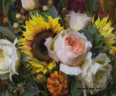 """Roses, Sunflowers & Zinnias""  10"" x 12"" oil ©Daniel J. Keys 2017 ©This image is under strict copyright to the artist and may not be reproduced in any form"