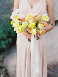 pink and yellow poppy bouquet