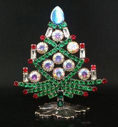 "Unique Czech Rhinestone Decoration Christmas Tree #642 - 4"" height"