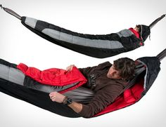 Grand Trunk Hammock Compatible Sleeping Bag: Grand Trunk's hammock turns into a cozy insulated sleeping bag Hammock Sleeping Bag, Hammock Bed, Sleeping Bags, Hammock Cover, Outdoor Fun, Outdoor Camping, Outdoor Gear, Camping Outdoors, Outdoor Rooms