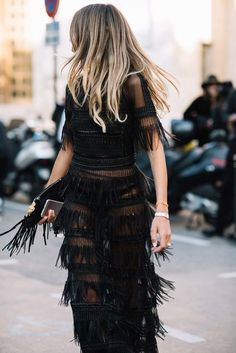 Fringed, Black dress | Summer Nights.