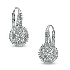 Zales 1/10 CT. T.w. Diamond Filigree Vintage-Style Drop Earrings in Sterling Silver yZBrWR1x