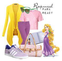 """Rapunzel: Park Ready"" by laniocracy on Polyvore featuring Glamorous, Paige Denim, Louis Vuitton, adidas, CÉLINE and disneyland"