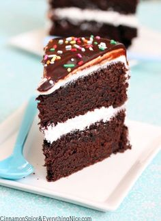 """Chocolate Whoopie Pie Cake. """"Two big layers of the most decadent chocolate cake with sweet marshmallow frosting inside and out. Plus a bonus chocolate ganache poured on top."""""""