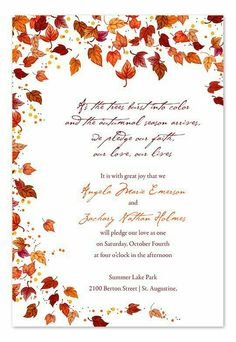 Diy Fall Wedding Invites