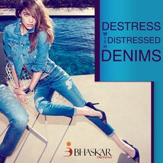 Release the stress.  Put on your favorite pair of #DistressedDenims and flaunt it around.  Ideal and quality fabrics for #DistressedDenims  #BhaskarDenims #DenimFabric www.bhaskarindustries.com