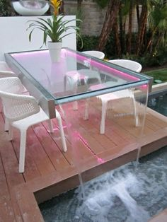 Beautiful garden table decor for home Home Interior Design, Interior And Exterior, Moderne Pools, Backyard Pool Designs, Garden Table, My Dream Home, Luxury Homes, Outdoor Living, Diy Home Decor
