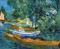 "Vincent van Gogh: ""Rowing Boats on the Banks of the Oise"", 1890. (Detroit Institute of Arts, Detroit, MI, USA.) http://www.dia.org/"