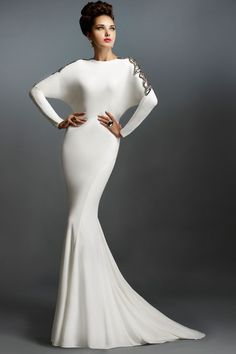 Floor Length Bridesmaid Fitted Dress With Long Sleeves