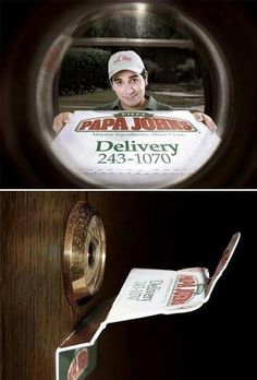 Direct Mail Advertising: Papa Johns Delivery Service - Very direct and noticeable. #ads #quirky