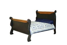 Primitive Handcrafted Sleigh Bed In Antique 2-Tone Black With Heritage Stain