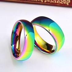 Rainbow Promise rings for couples, stainless steel rainbow ring,couple rings,matching rings for coup Promise Rings For Couples, Rings For Men, Ring Titan, Rainbow Promise, Matching Couple Rings, Men's Fashion Jewelry, Titanium Rings, One Ring, Stainless Steel Rings