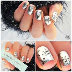 Silver snowflakes nails. | Winter nailart.