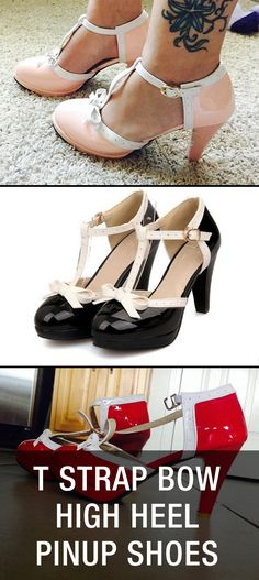 T Strap Bow High Heel Pin Up Rockabilly Shoes… Rockabilly Shoes, Rockabilly Mode, Rockabilly Fashion, High Heel Pumps, Pump Shoes, Shoe Boots, Heels, Estilo Pin Up, Estilo Retro