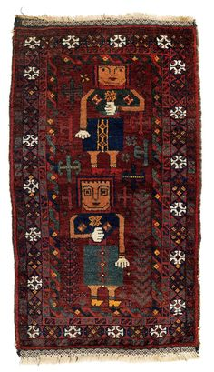 A small pictorial rug in balisht format, with two human figures arranged one above the other; their square heads and misaligned bodies are striking. Pictorial representations of this kind were a speciality of the Mahdad Khani tribe inhabiting the region between Chakhansur and Zabol in Sistan province. – Good condition, carefully woven kilim finishes. Origin: East Persia, Zabol region Dimensions: 89 x 50 cm Age: Ca. 1930 Estimate: 800.00 €