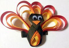 Thanksgiving Turkey Ribbon Sculpture Hair Clip by TessasBows, $9.00