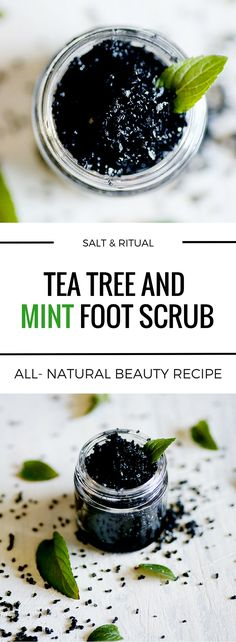 Refreshing foot scrub with tea tree oil, peppermint and black lava salt with activated charcoal. Perfect for scrubbing and detoxing summer barefoot feet clean. Vegan all-natural beauty recipe.