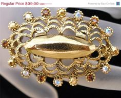 Clearance Sale Oscar De La Renta Brooch Vintage Signed AB Rhinestone Gold Pin