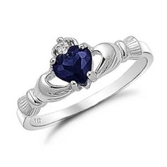 claddagh ring and it has sapphire.