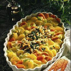 Curry-Kartoffelauflauf Rezept   LECKER Pasta Salad, Quiche, Macaroni And Cheese, Potatoes, Ethnic Recipes, Food, Alkaline Recipes, Curry Recipes, Souffle Dish