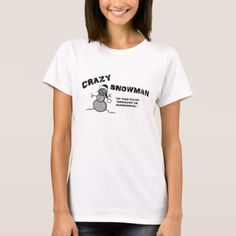 Crazy Snowman T-shirt - black and white gifts unique special b&w style