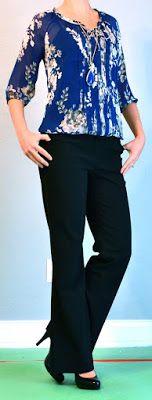 Outfit Posts: outfit post: blue floral blouse, black pants