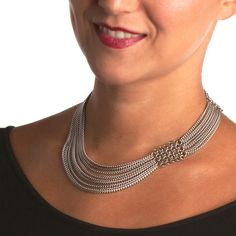 Rapt In Maille | Handmade Chainmaille Jewelry by Melissa Banks | Stainless Steel | Chicago — SLINKY Asymmetrical Necklace