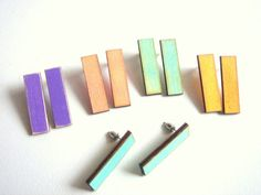 Pastel Geometric  Earrings ,Laser Cut Wood  Earrings,Geometric Jewelry