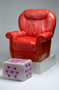 """Large chair"" & ""Pouffe""-ceramic by Katharine Morling"