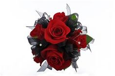 Classy Black & Red Rose Nosegay by Something New Florist in Canfield, Ohio #somethingnew #somethingnewflorist #ohio #youngstown #canfield #boardman #floral #florals #florist #nosegay #bouquet #corsage #roses #homecoming #hoco #hoco15 #prom