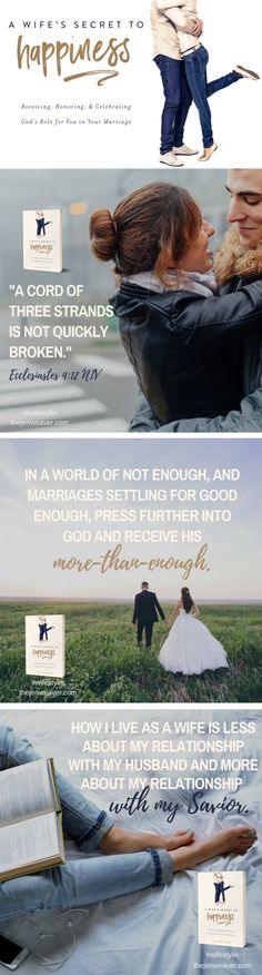 """""""A Wife's Secret to Happiness"""" shares eleven powerful, practical blessings that God wants to pour into your lap. Such a great book for Christian wives! Christian Wife, Christian Marriage, Christian Faith, Christian Living, Love Your Wife, Man And Wife, Strong Marriage, Good Marriage, Laura Lee"""