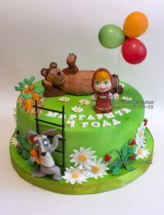 -- Masha Et Mishka, Masha Cake, Little Girl Cakes, Birtday Cake, Masha And The Bear, House Cake, Funny Cake, Adult Birthday Cakes, Character Cakes