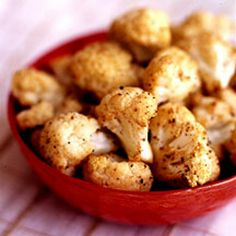 WEIGHT WATCHERS snack ZERO PointsPlus! 1 spray cooking spray, 1 head of uncooked cauliflower, ½ tsp ground cumin, ½ tsp chili powder (or more to taste), ½ tsp salt, ½ tsp pepper. Preheat oven to 400, coat baking sheet with spray, cut cauliflower to bite size pieces and mix in bowl with all ingredients. Bake for about 10 minutes stirring half way through. 1 serving: ½ cup!